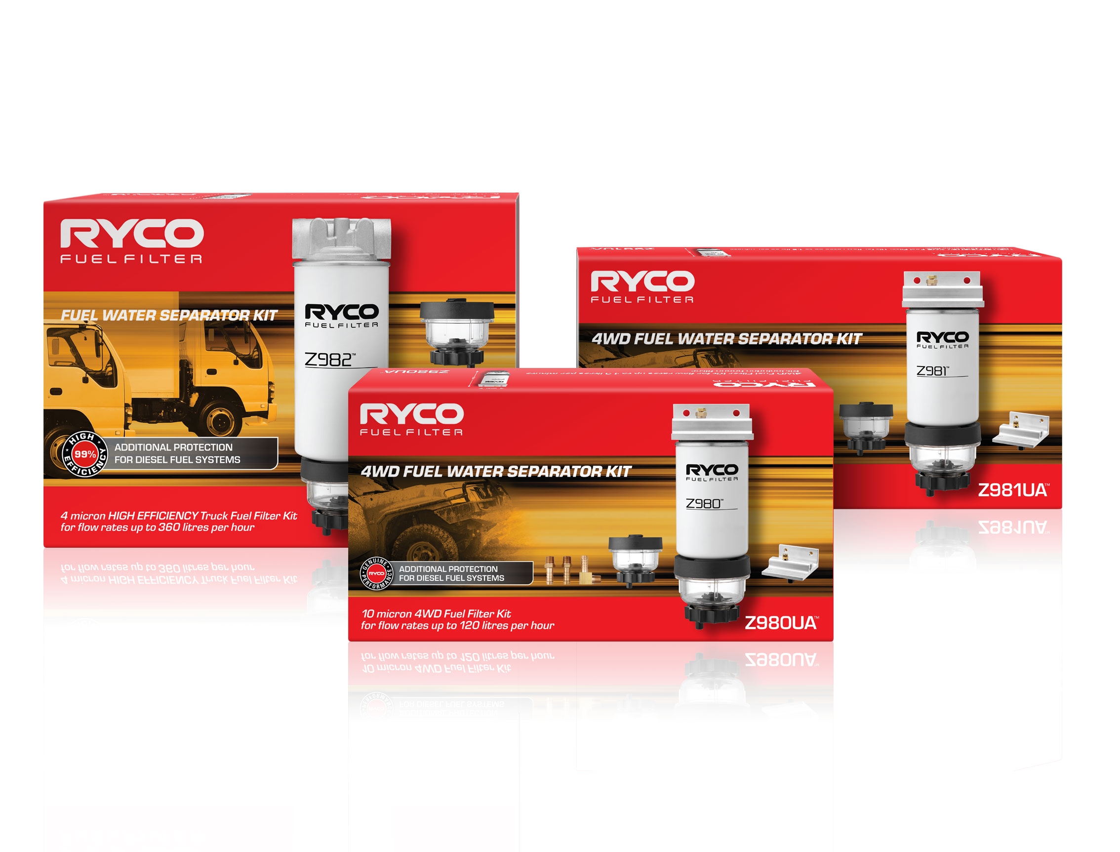 Ryco Fuel Water Separator Kit 4wd Z980ua For Flow Rates Up To 120l Text Filter Protects Common Rail Diesel System Injectors Becoming Blocked Or Damaged